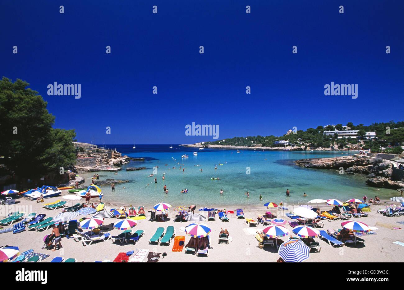 Cala Benirras, Ibiza, Balearen, Spanien Stockbild