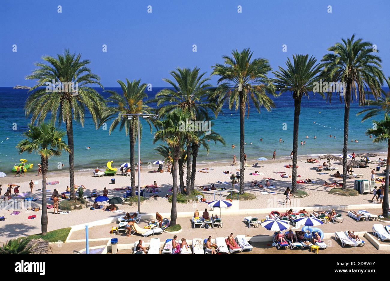 Playa Vermietungsbüros Bossa, Ibiza, Balearen, Spanien Stockbild