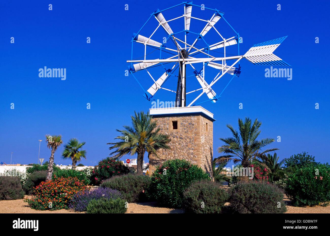 Windmühle in Sant Jordi, Ibiza, Balearen, Spanien Stockbild