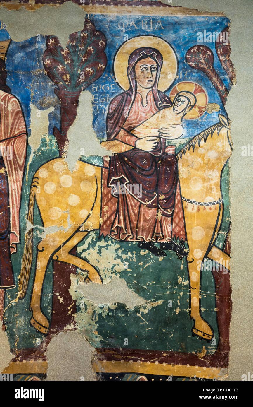 Jaca, Provinz Huesca, Aragon, Spanien.  Diözesan Museum Jaca (Museo Diocesano de Jaca).  Die Flucht nach Ägypten. Stockbild
