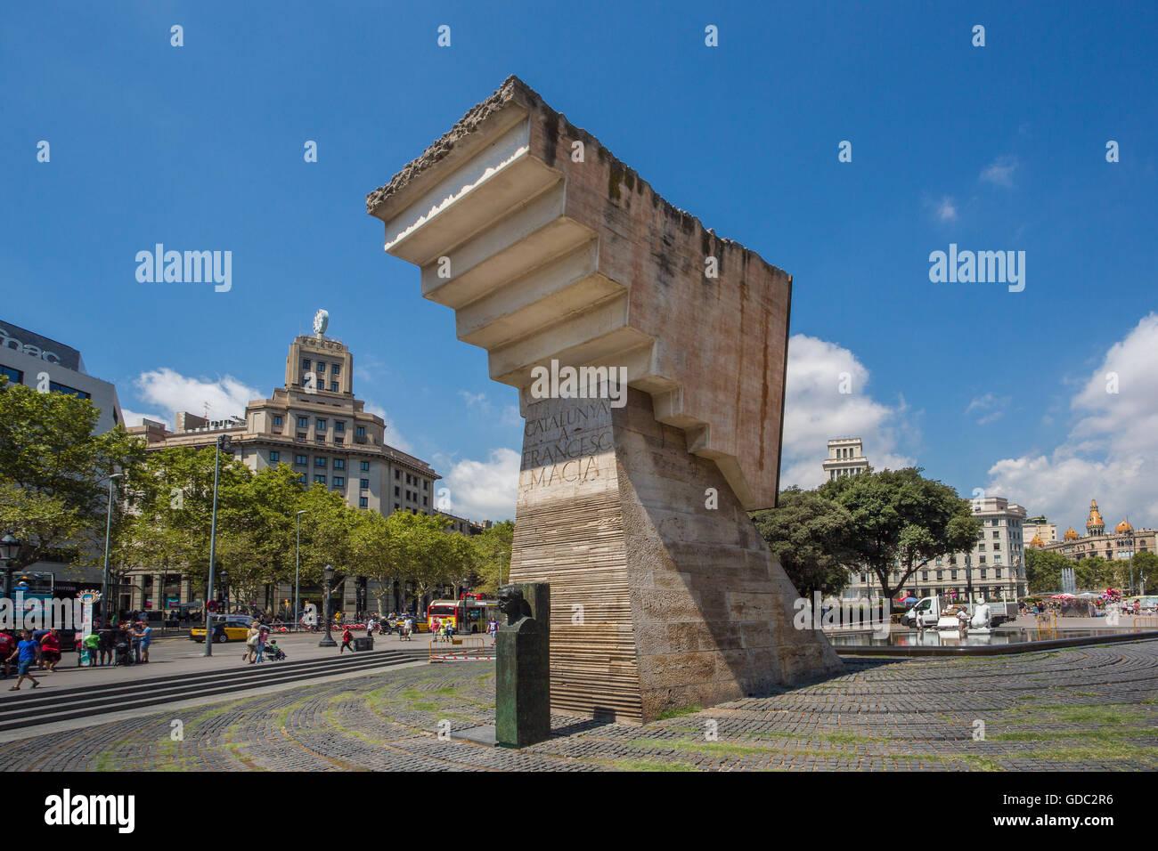 Spanien, Katalonien, Barcelona City, Catalunya Square, Francesc Macia Denkmal Stockbild