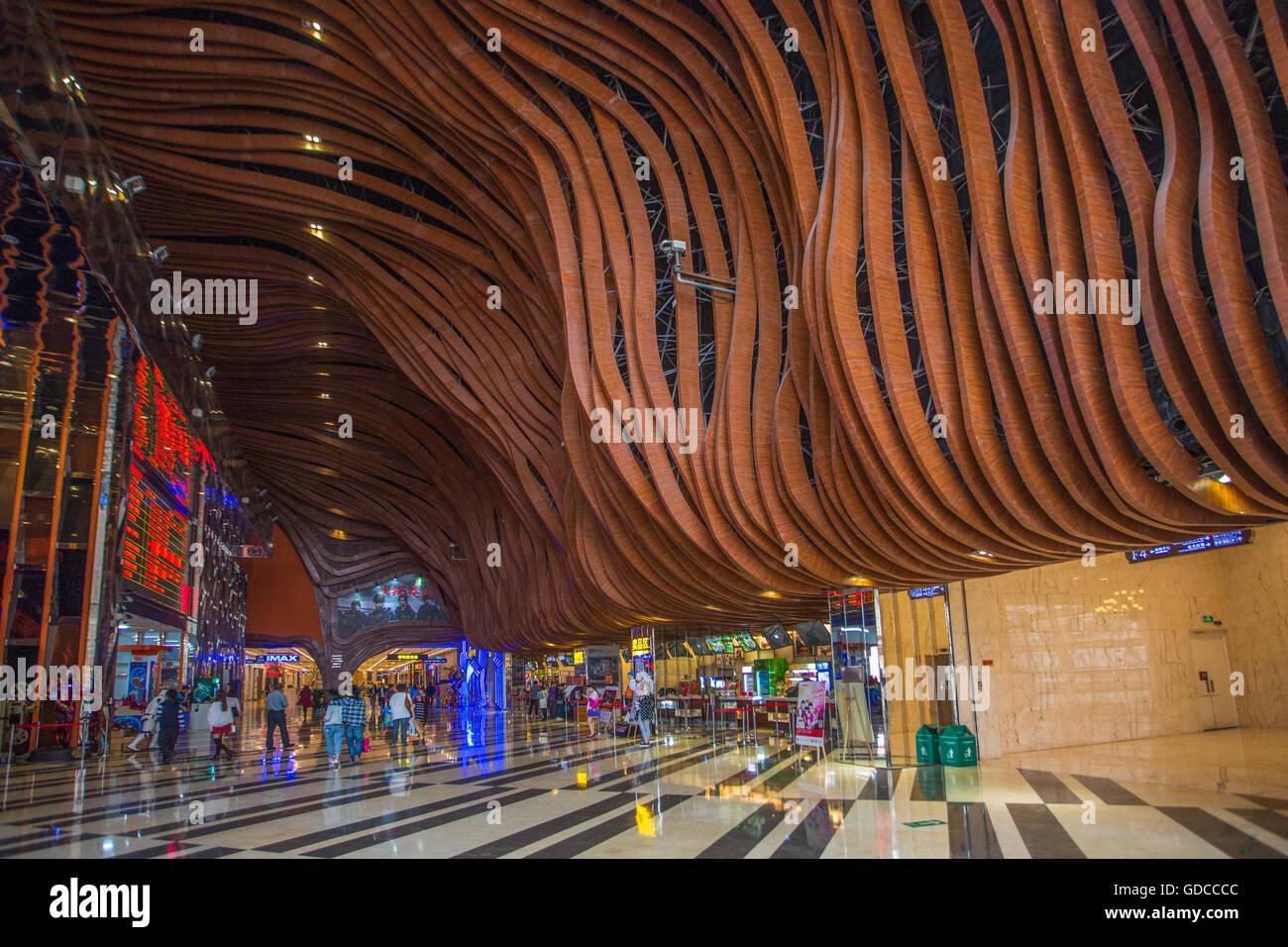 Architektur, künstlich angelegten Strand, groß, Gebäude, Stadt Chengdu, China, Eingang, Global Center, Stockbild