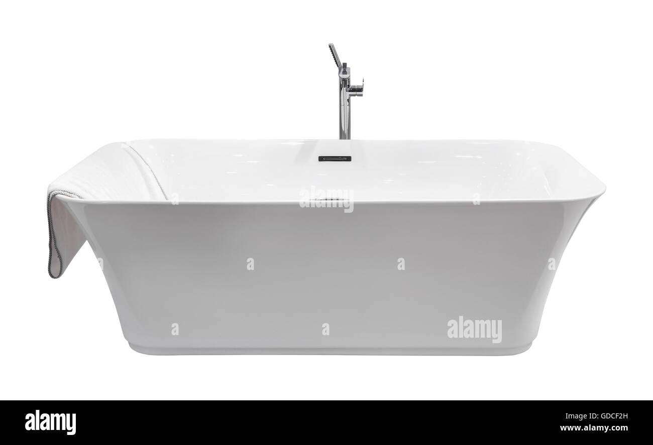 Weiße moderne Bad isoliert Stockbild
