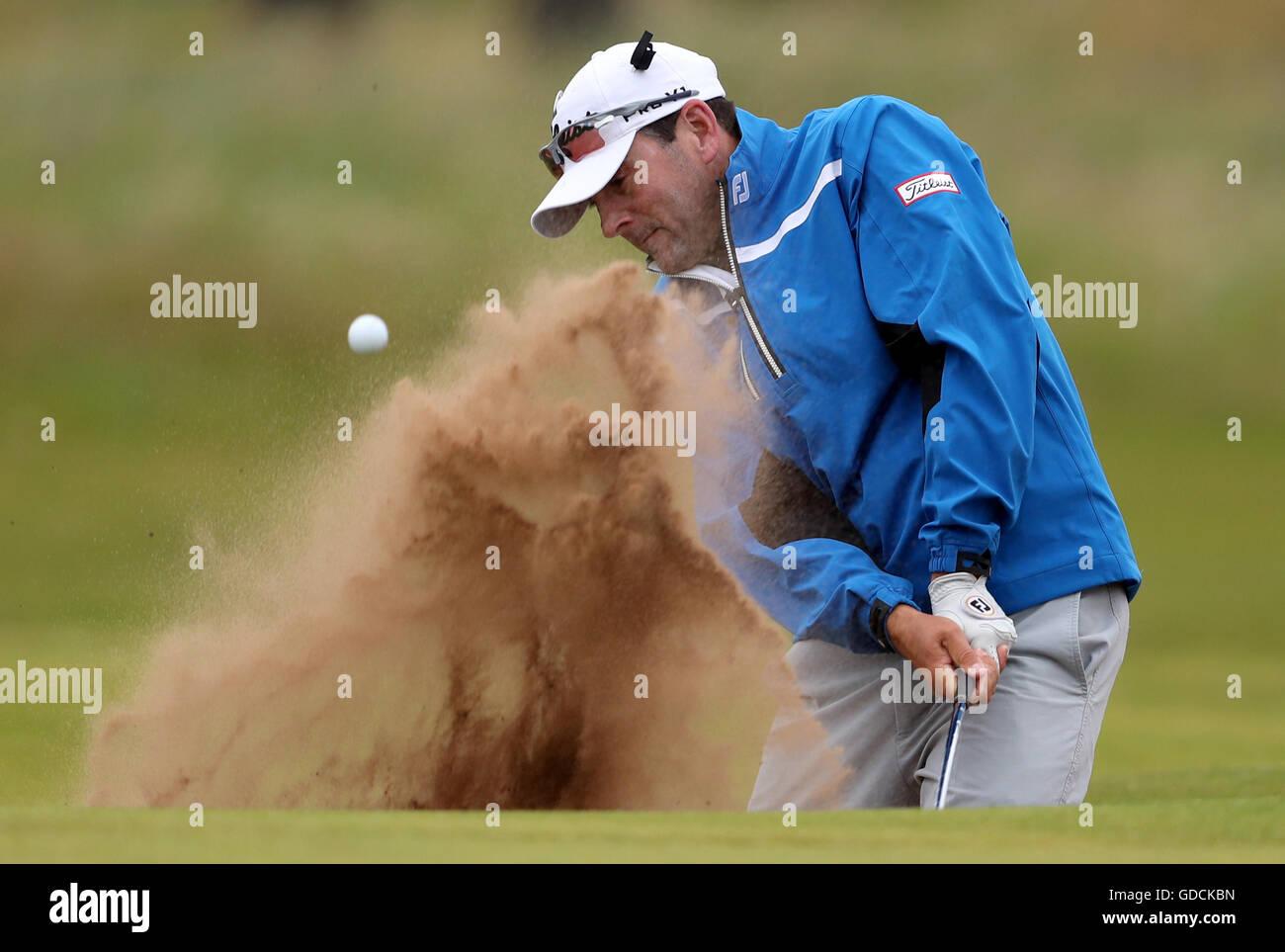 USA Ben Curtis spielt aus dem Bunker tagsüber zwei The Open Championship 2016 im Royal Troon Golf Club, South Stockbild