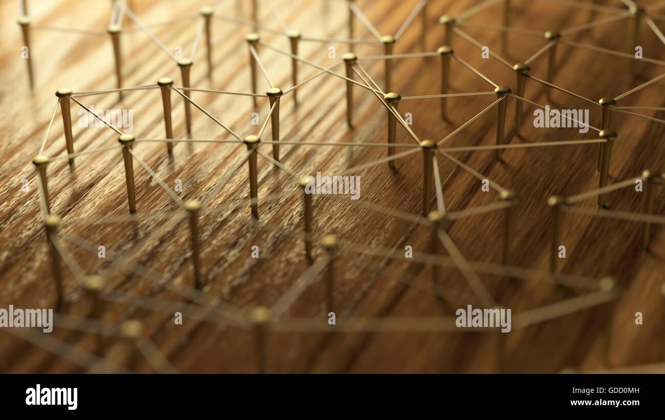 Netzwerk, Vernetzung, verbinden, Draht. Verknüpfung von Entitäten. Netzwerk von Golddrähte auf rustikalen Stockbild