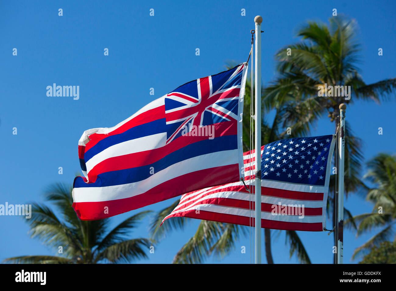 Maui, US-Flagge, Banner, USA, Hawaii, Amerika, Flagge, Flaggen, Palmen, Stockbild