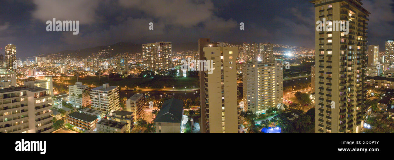 Honolulu, Oahu, Hauptstadt, Häuser, Wohnungen, USA, Hawaii, Amerika, Stadt, Stadt, Abend, Stockbild