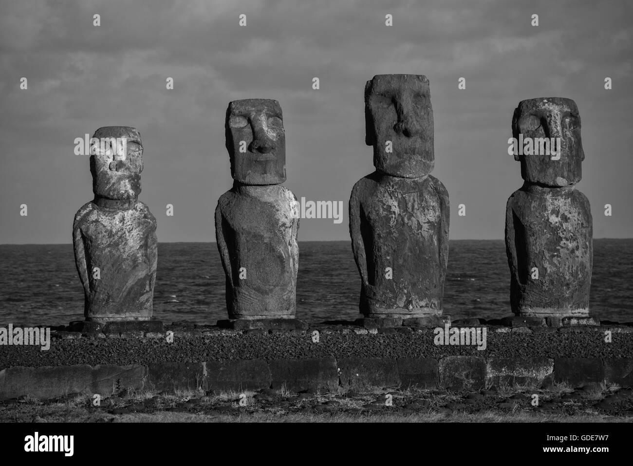 Südamerika, Chile, Osterinsel, Isla de Pasqua, Südpazifik, UNESCO, Welterbe, Stockbild