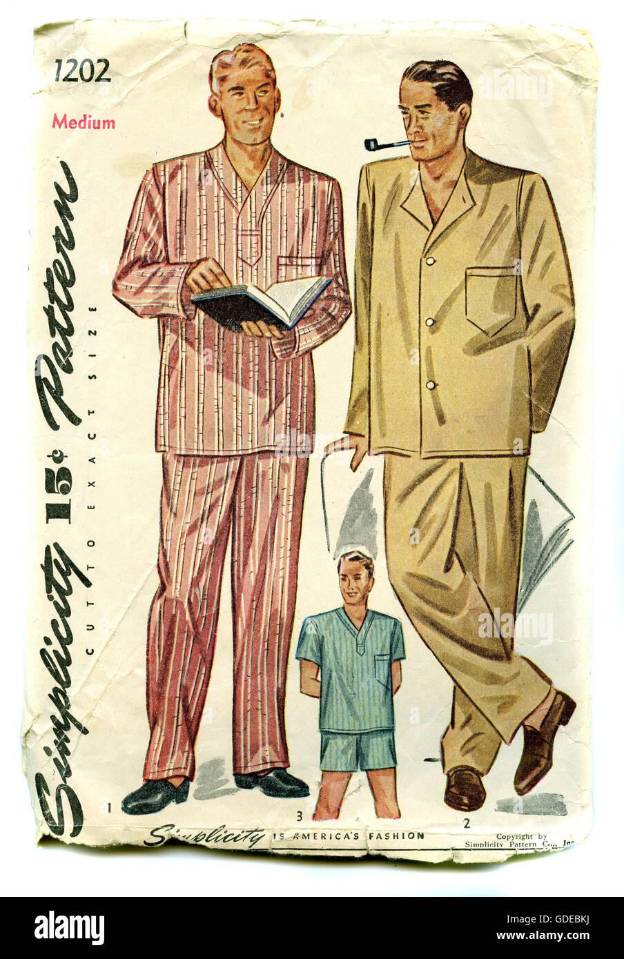 Vintage 1960er Jahre Herren Schlafanzug Nähen Muster-Paket Stockfoto ...