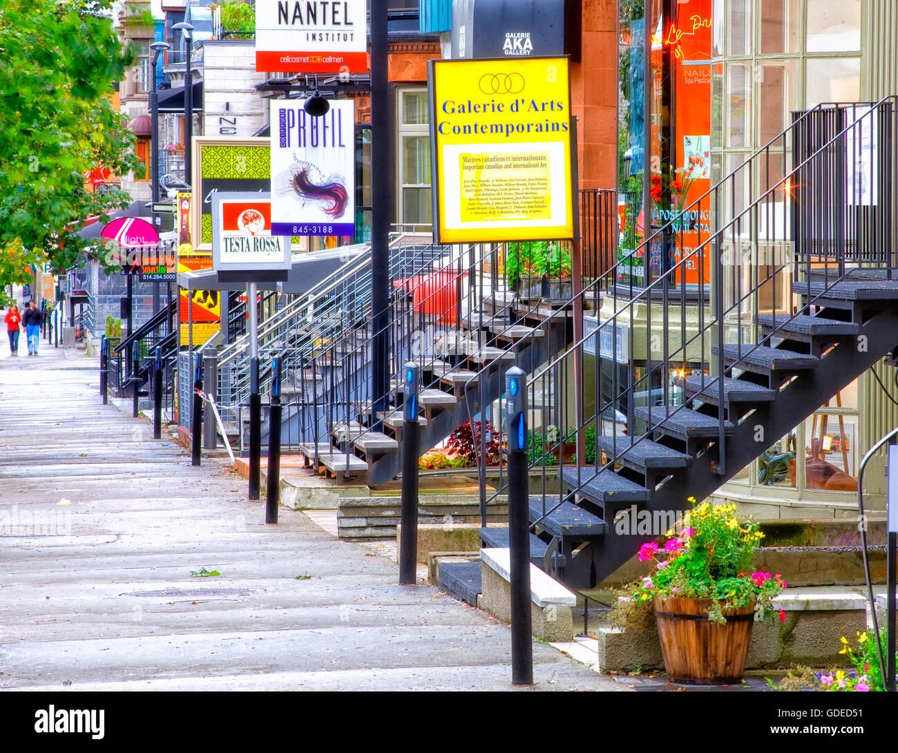 Crescent street in Montreal Stockbild