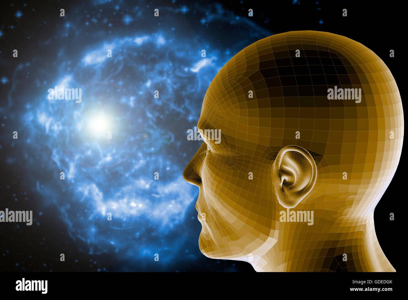 Konzept für Psyche und Wissenschaft Stockbild