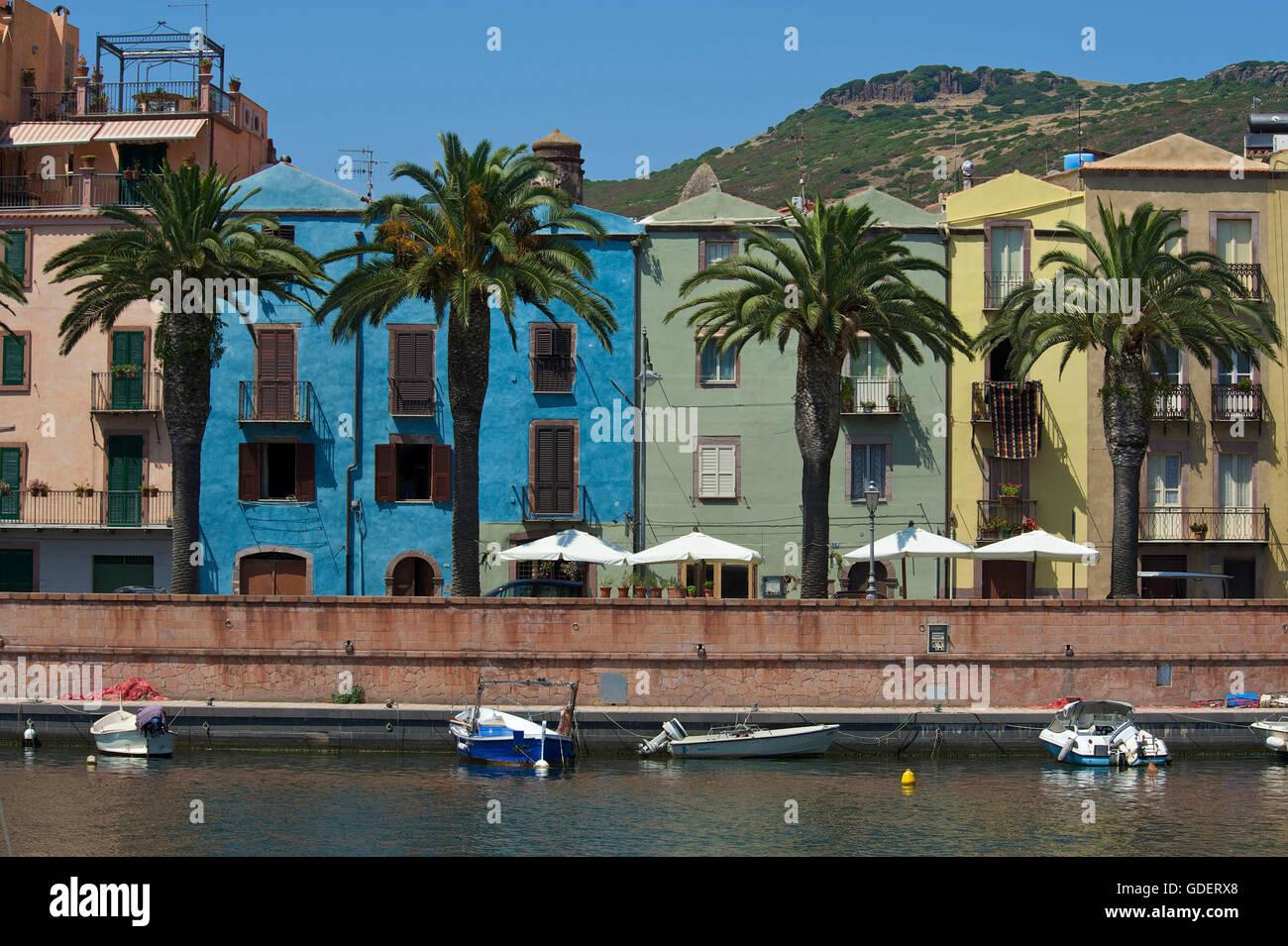 Bosa, Fluss Temo, Sardinien, Italien Stockfoto