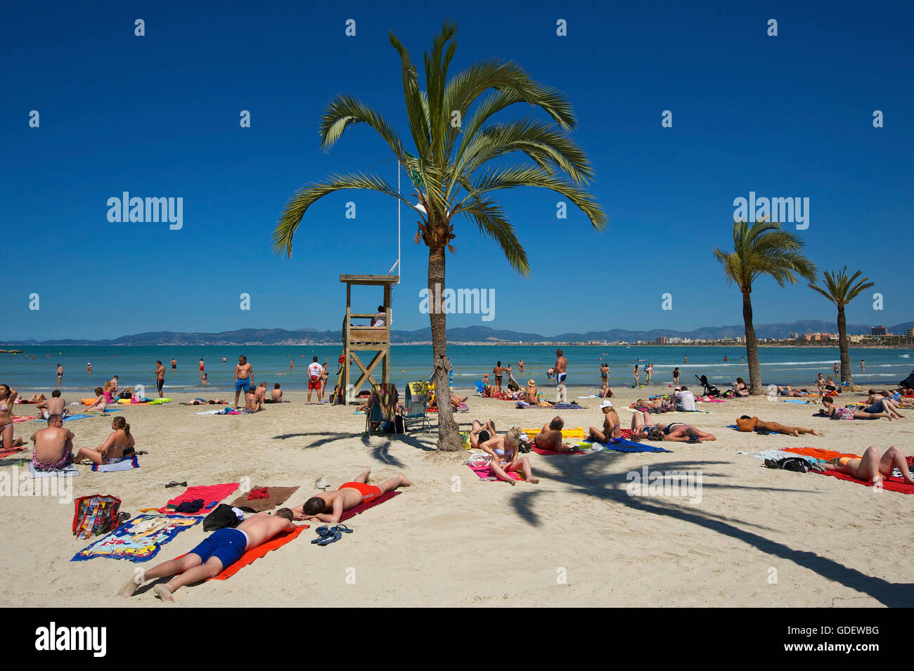 Playa de S'Arenal, Mallorca, Balearen, Spanien / El Arenal Stockfoto