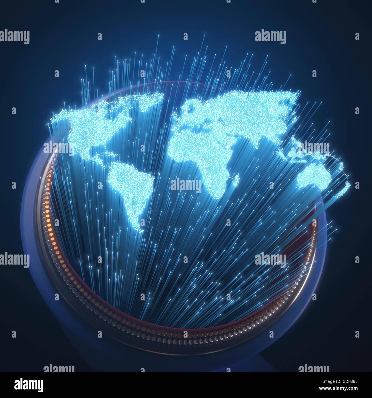 Fibre optic Weltkarte, Abbildung. Stockbild