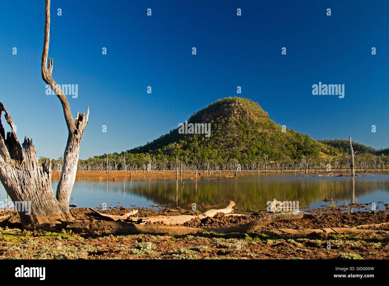See Nuga Nuga mit bewaldeten Hügel reflektiert in Spiegelfläche des blauen Wassers unter blauem Himmel Stockbild