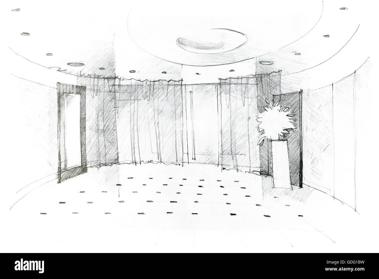 Freihand Monochrome Zeichnung der modernen Halle-Design-Konzept ...