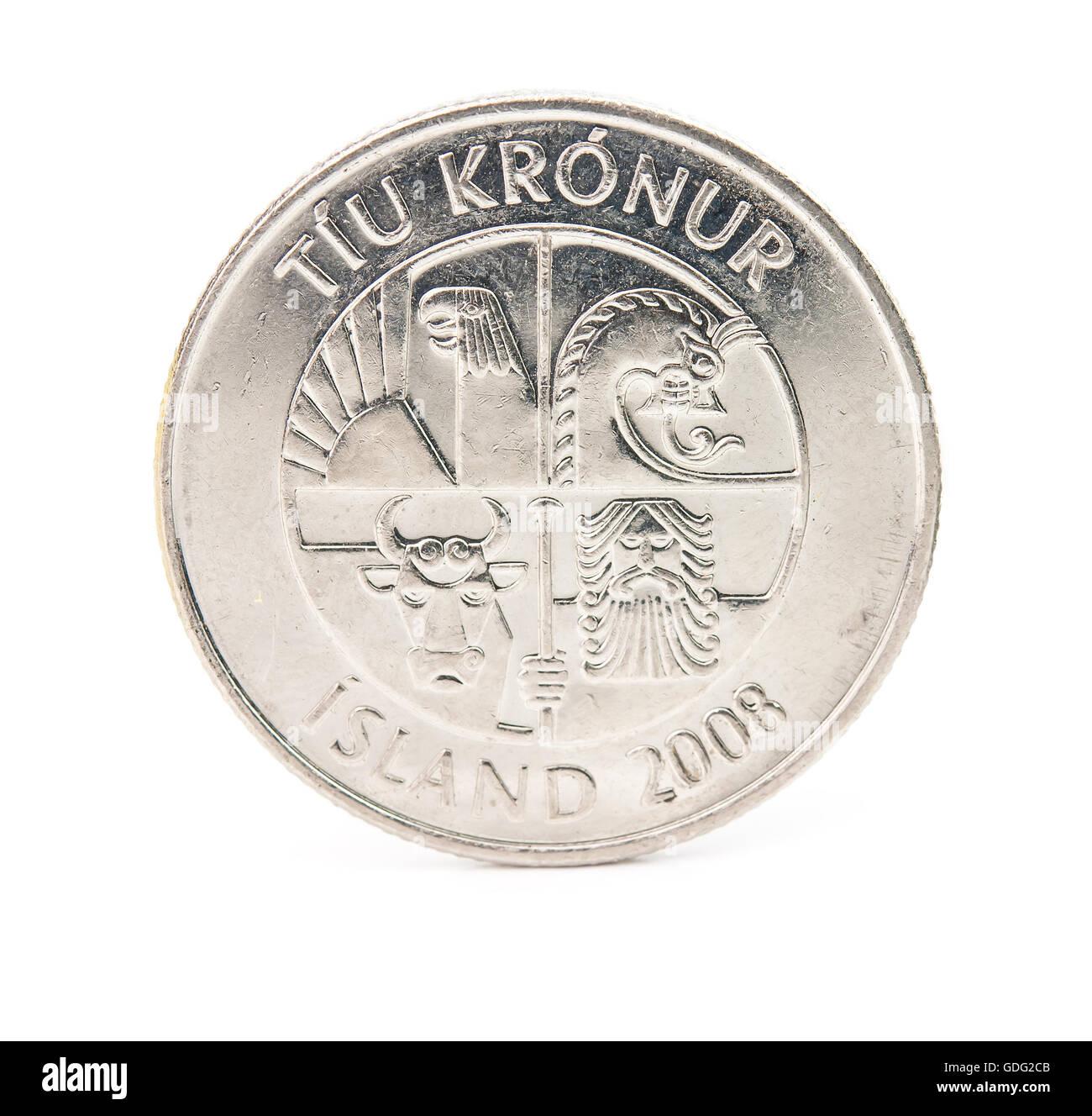 10 Isländischen Kronen Münze Isoliert Auf Weißem Hintergrund