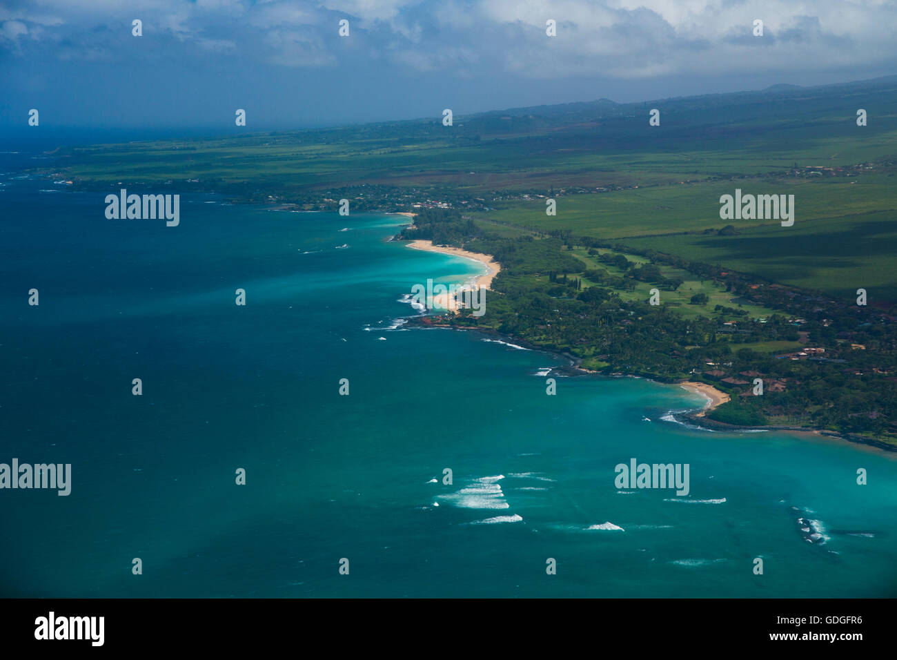 Maui, Küste, USA, Hawaii, Amerika, Meer, Antenne, Stockbild