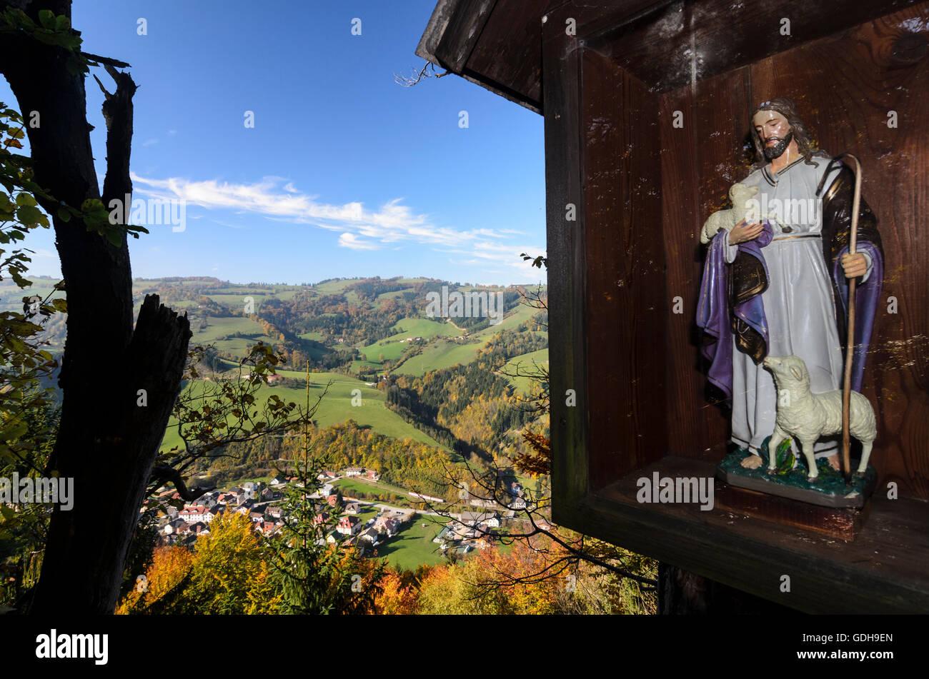 Sagenbüchlein: Bildstock, Blick vom Falkensteinmauer auf Sagenbüchlein gegenüber Frankenfelsberg Stockbild