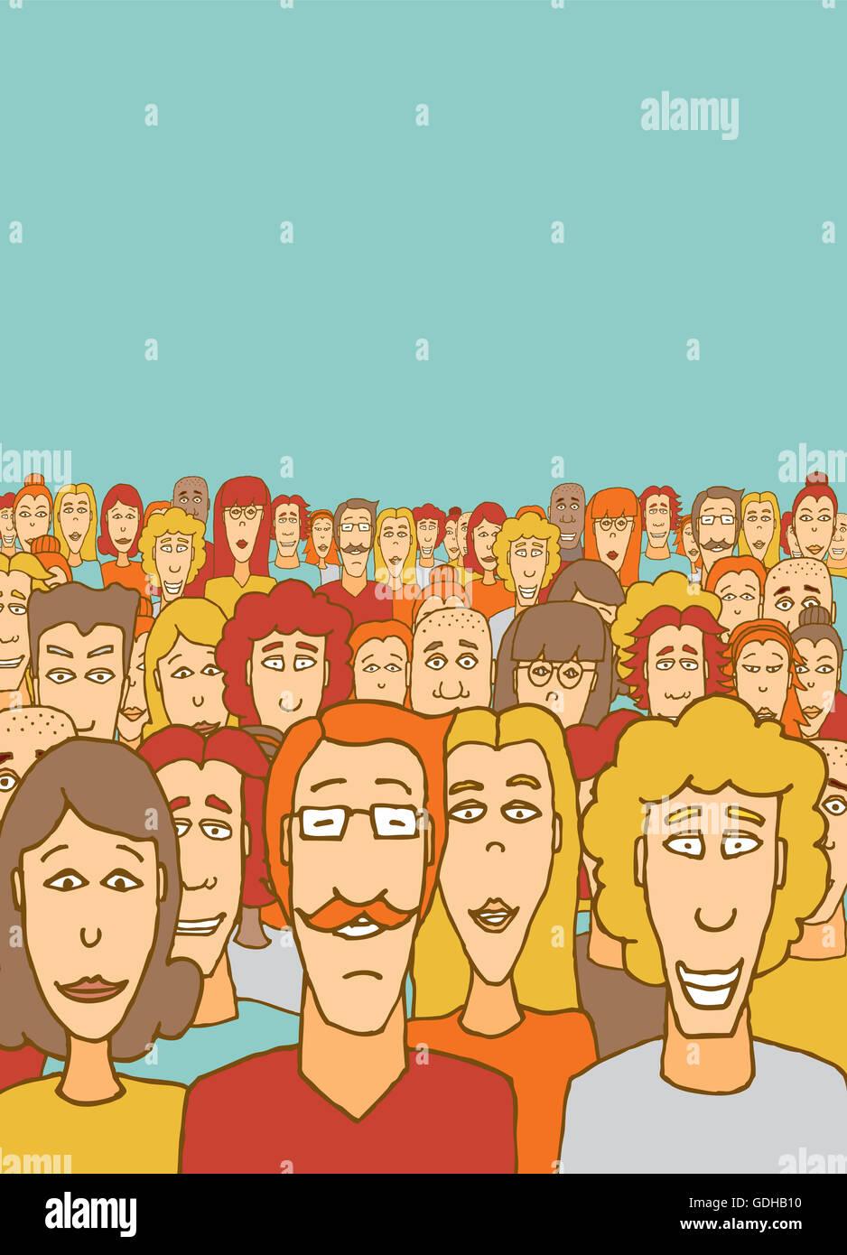 Cartoon Illustration einer großen Menschenmenge Gemeinschaft Stockbild