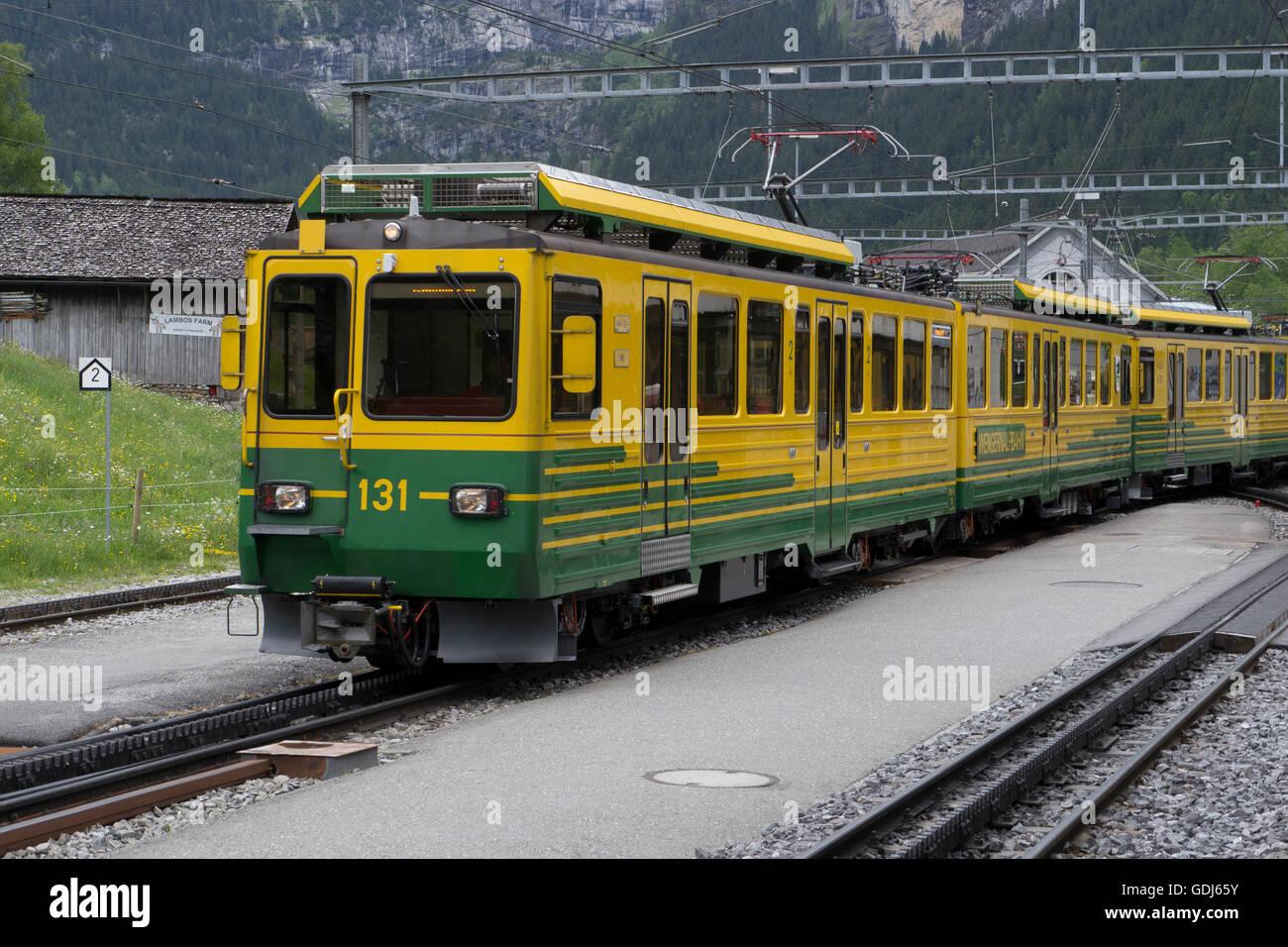 Wengernalp Bahn Bahnhof Grindelwald Grund, Station, Schweiz Stockbild