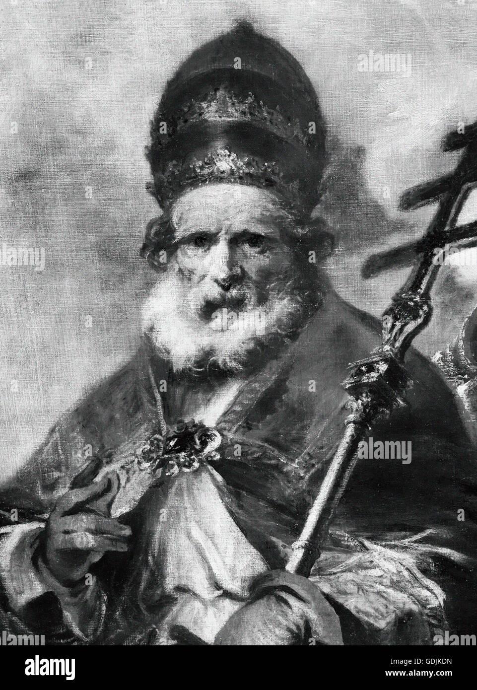 Papst Leo war ich (ca. 400-461), auch bekannt als Saint Leo der große, Papst von 440 bis zu seinem Tod in 461. Stockbild