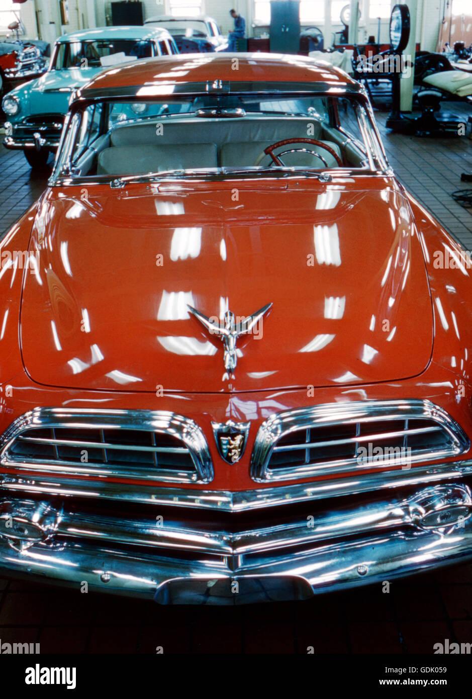 Der 1955 Chrysler Plymouth, entworfen von Virgil Exner Stockbild