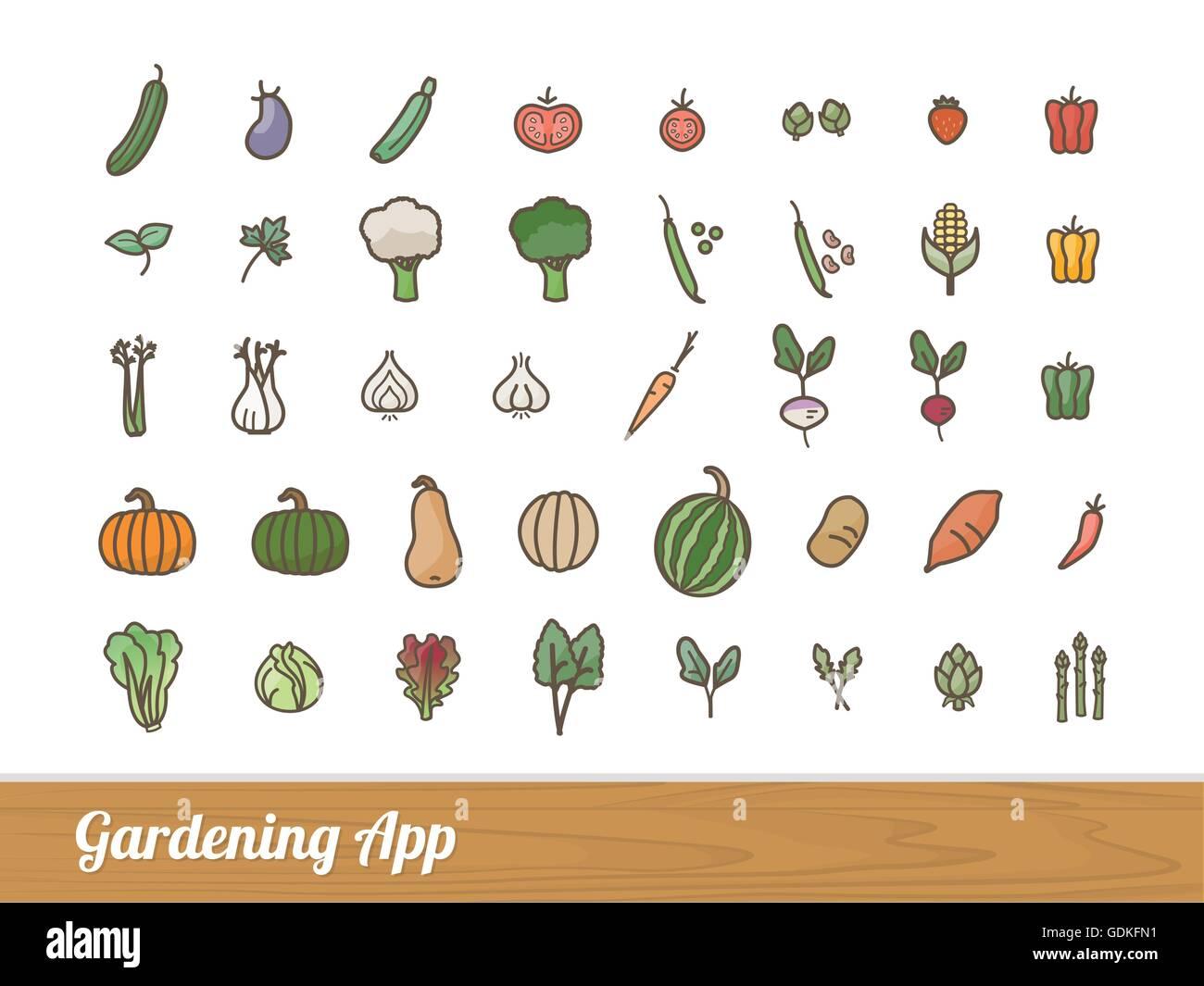 garten- und landwirtschaft app gemüse skizzierte symbole set vektor