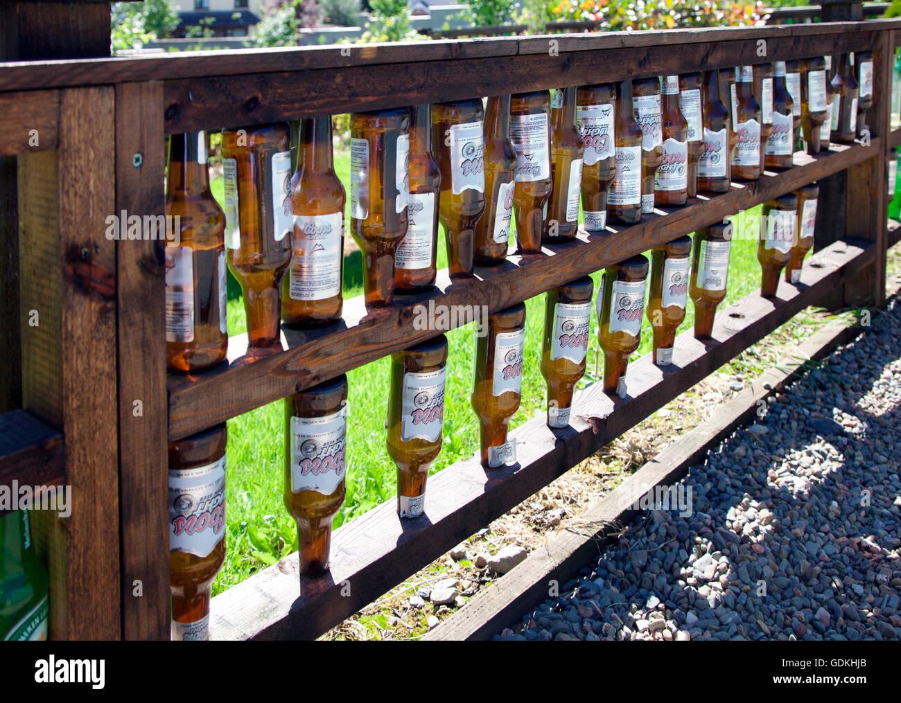 Coors Bier Flaschen Zaun Carrickmacross Kleingarten Stockfoto Bild