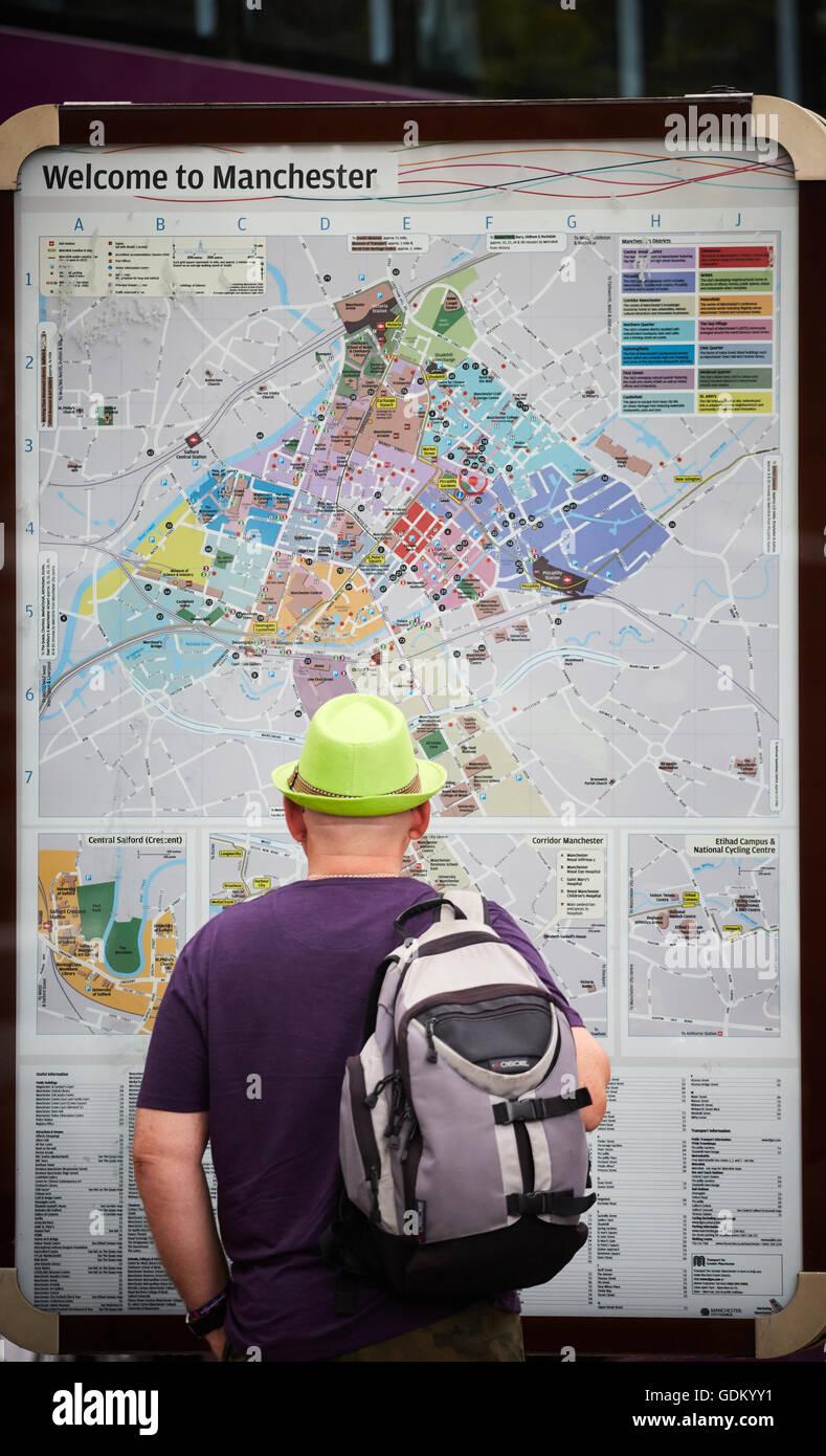 Manchester Street Karte Verloren Touristen Willkommen Zu