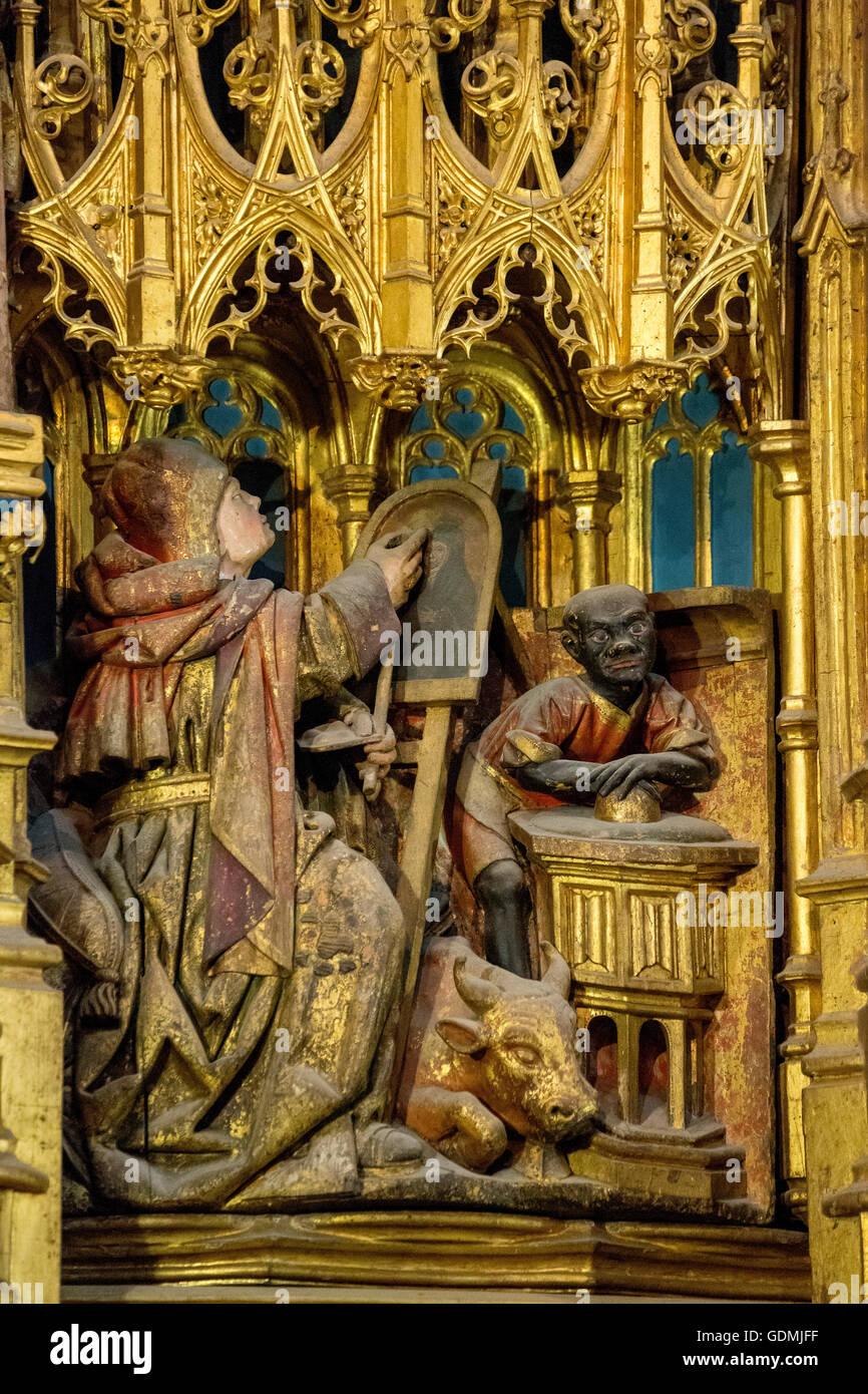 Altar, Darstellung einer schwarzhäutigen in das Altarbild, alte Kathedrale (Sé Velha) in der alten Stadt Stockbild