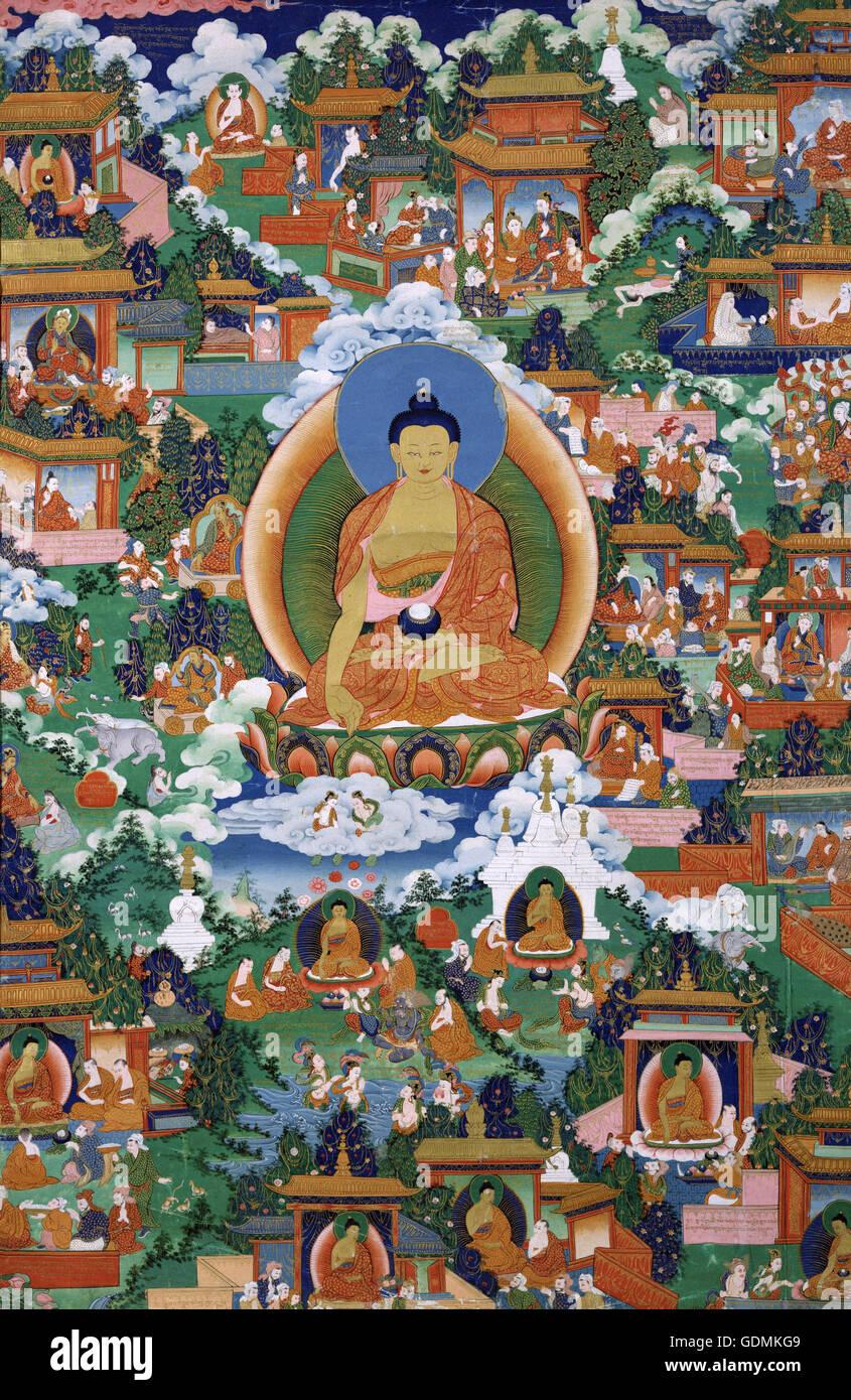 Shakyamuni Buddha mit Avadana Legende Szenen Stockbild