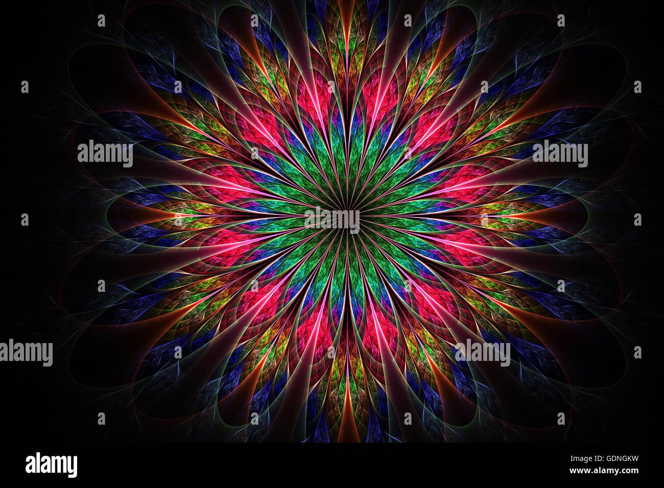 Computer generierte Fraktale Blumen in bunten Farben. Fraktale Grafiken für kreatives Design, Flyer Deckel, Stockbild