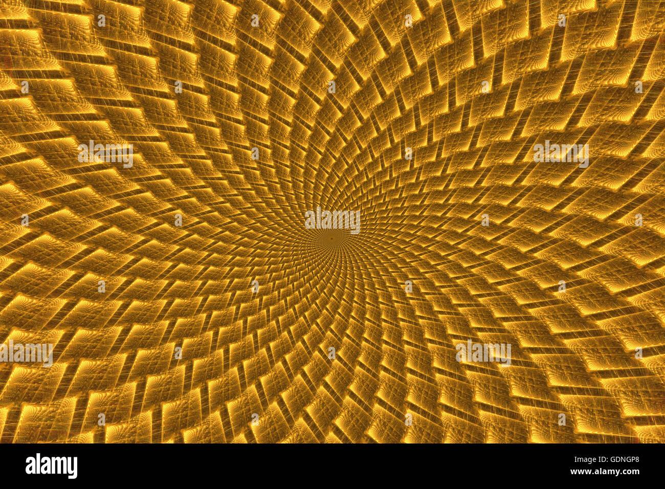Abstrakt Fantasy gelb psychedelischen Spirale. Computer generierte Fraktale in der gelben Farbe Stockbild