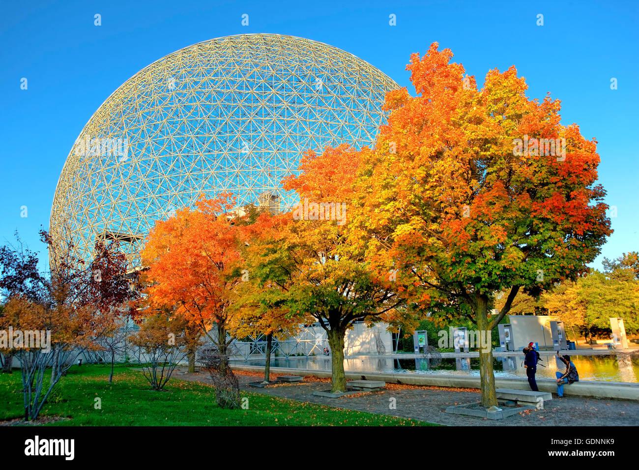 Die Biosphäre-Struktur auf der Insel Saint Helene in Jean Drapeau Park in Montreal Stockbild