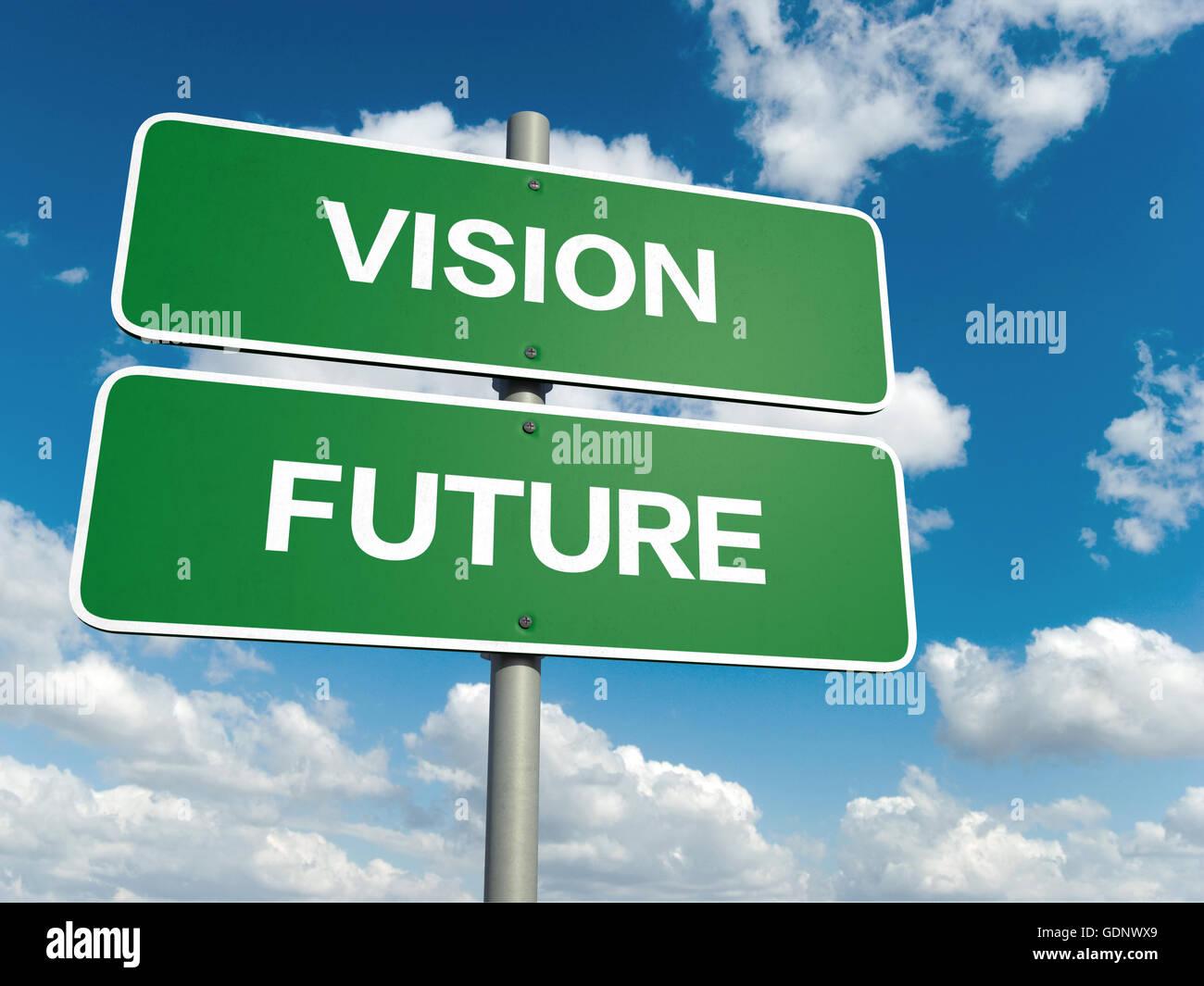 Ein Straßenschild mit Vision Zukunft Worten am Himmelshintergrund Stockbild