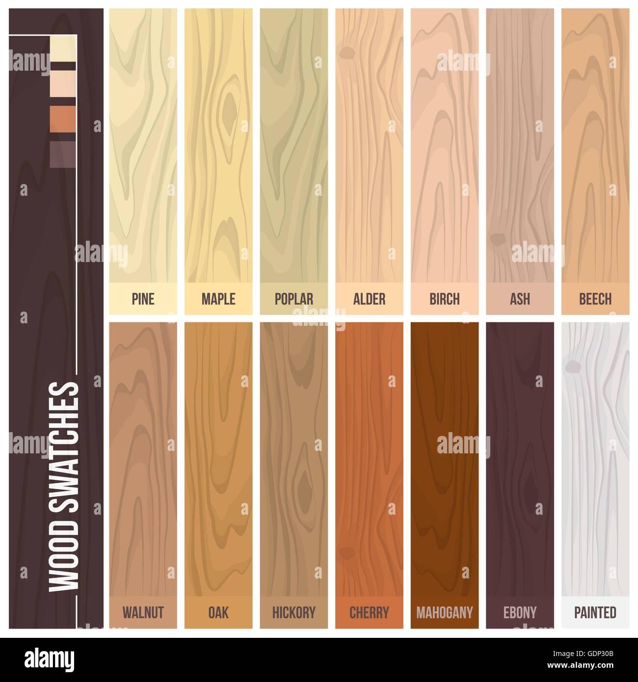 holz farbfelder farbtabelle mit verschiedenen pflanzen und farben