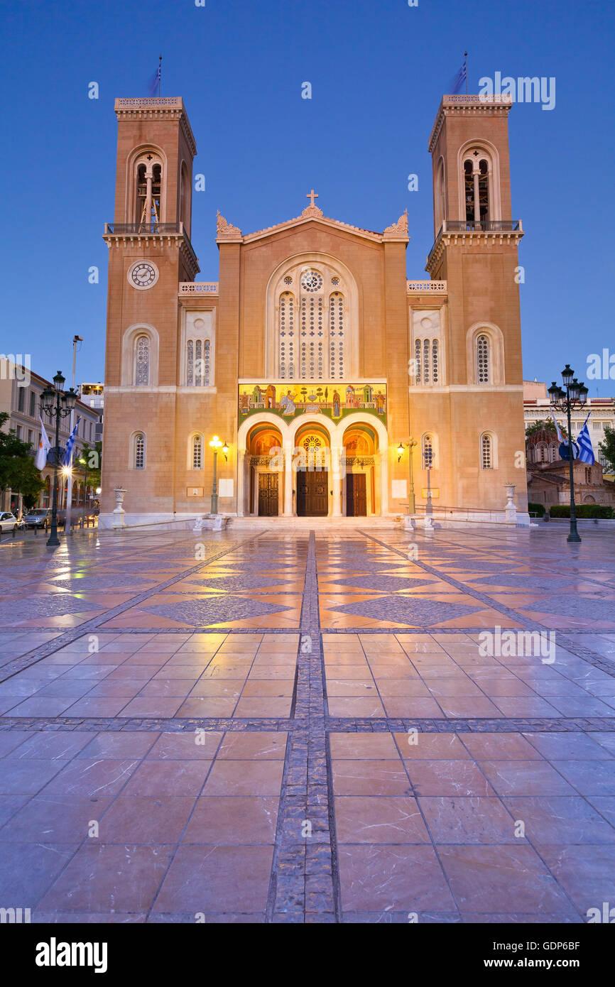 Blick auf die Kathedrale von Athen. Stockbild