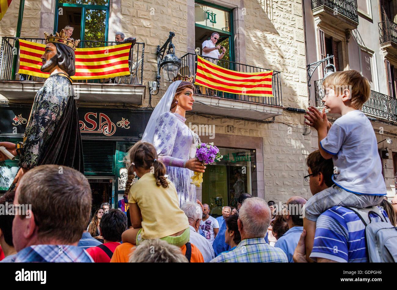 Riesen während La Merce Festivals. Plaça del Pi. Barcelona. Katalonien. Spanien Stockfoto