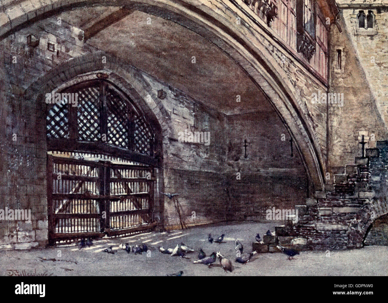 Der Verräter Tor von innen. Tower of London, ca. 1908 Stockbild