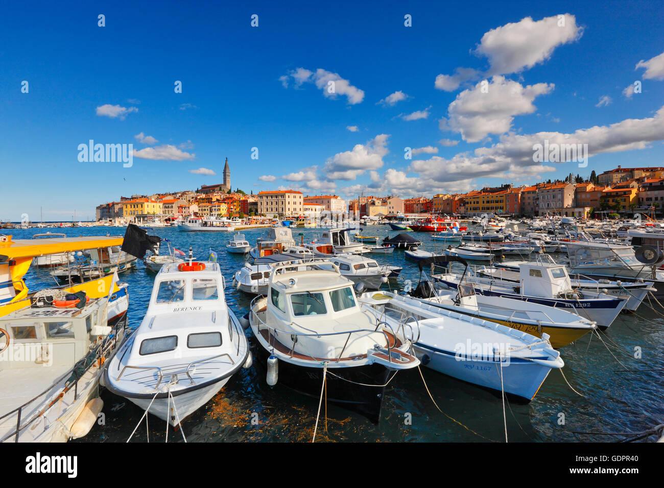 Hafen von Rovinj Stockbild