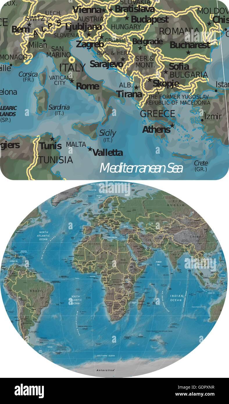 Mittelmeer Karte Europa.Italien Griechenland Mittelmeer Und Europa Afrika Karte