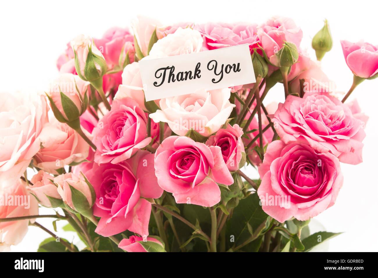 Dankeschön-Karte mit rosa Rosen-Bouquet. Stockbild