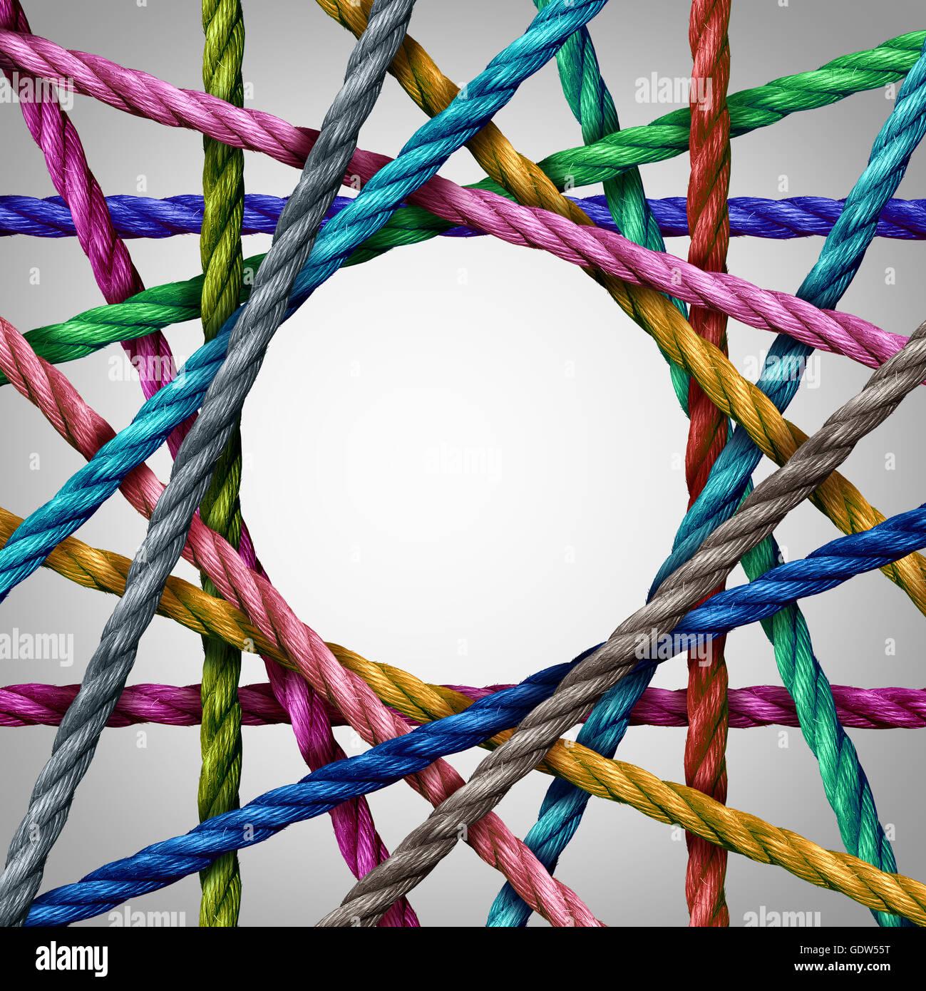 Divesisty und Kreis geformt Gruppe von Seilen, die Schaffung einer zentralisierten Kreisform als ein Connect-Konzept Stockbild