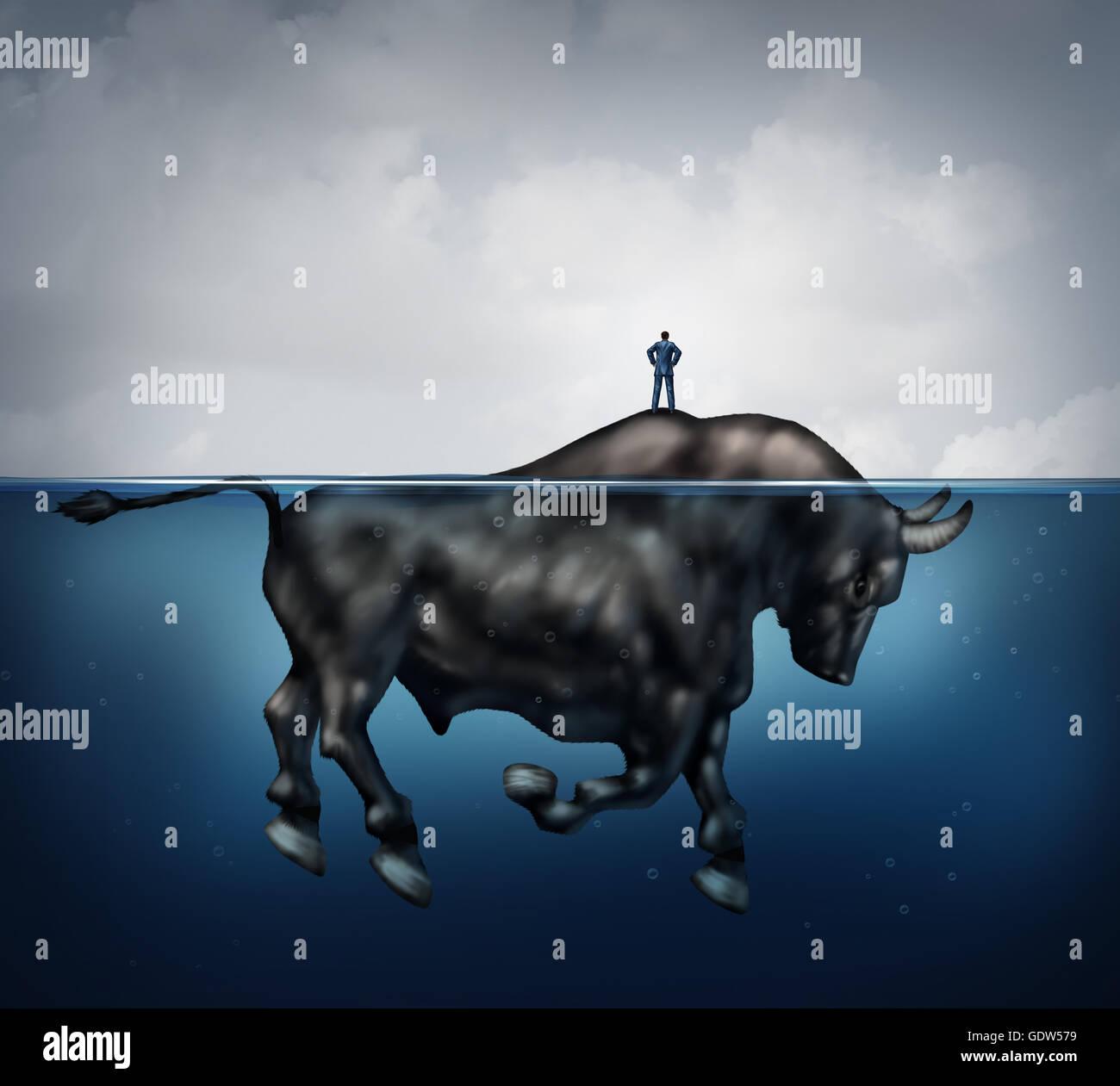Suche nach Wohlstand Erfolg und versteckte bullish Markt Finanzkonzept als verwirrt und verloren Geschäftsmann Stockbild
