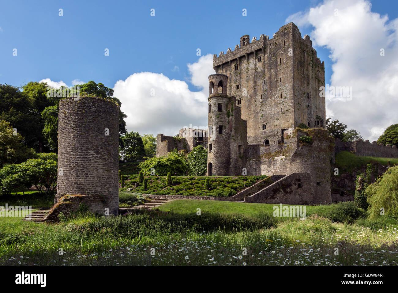 Blarney Castle ist eine mittelalterliche Festung in Blarney, in der Nähe von Cork, Irland. Stockbild