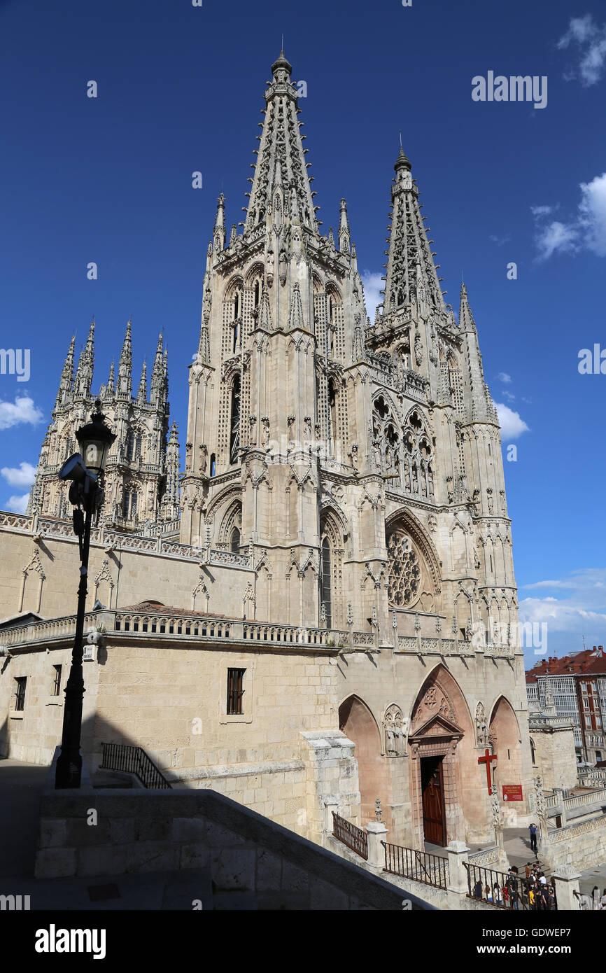 Spanien. Burgos. Kathedrale der Heiligen Maria. Gotischen Stil. Fassade von Santa Maria. Stockbild