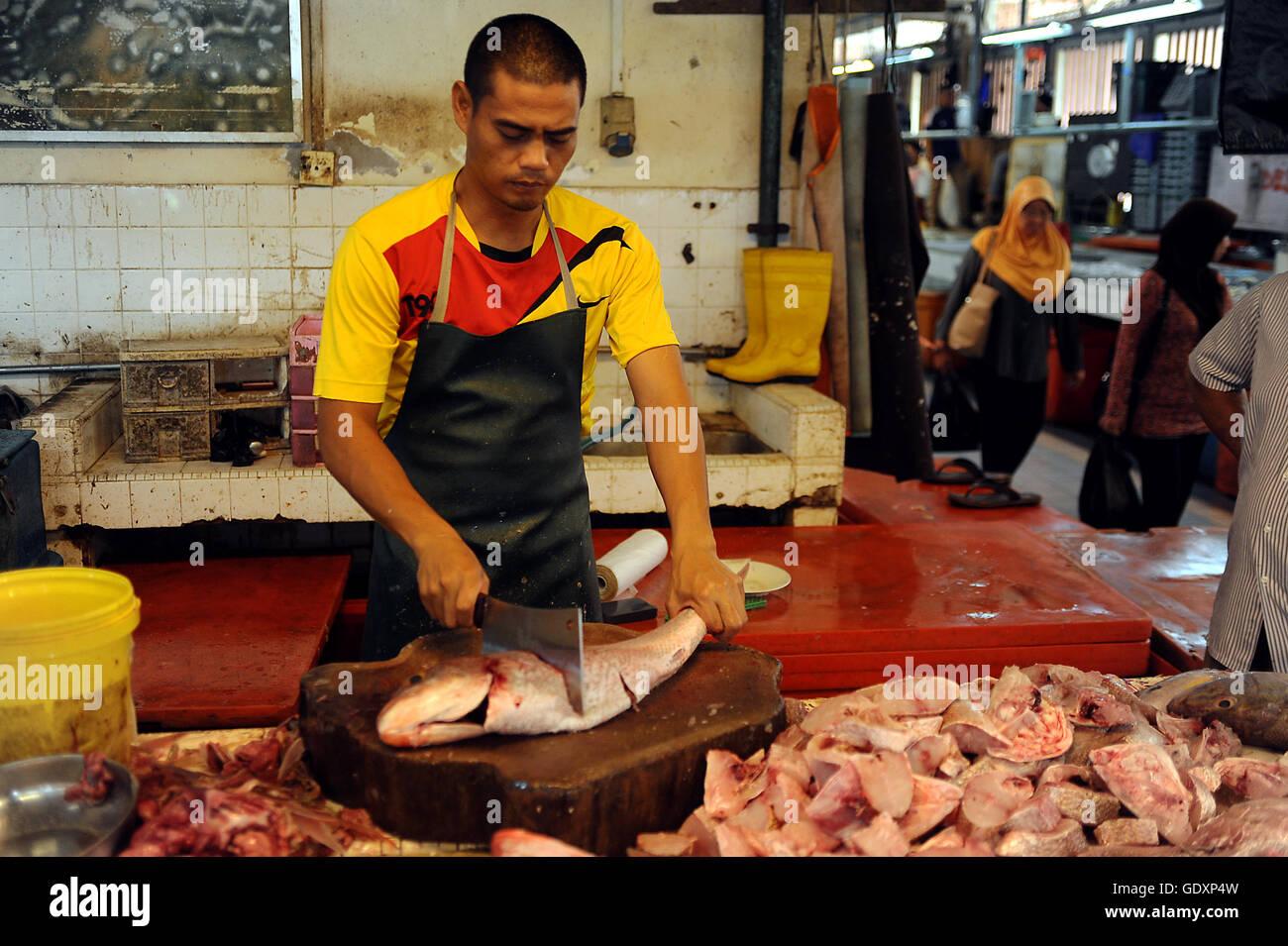 Pasar Gadong Fischmarkt Stockbild