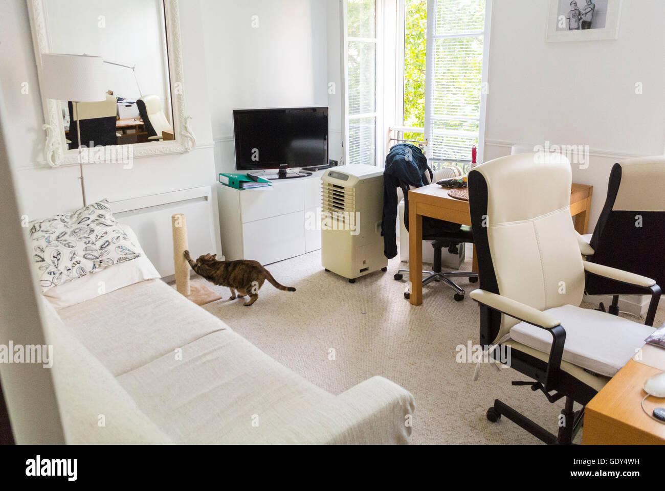 Paris, Frankreich, modernen städtischen Wohnung, weiße ...