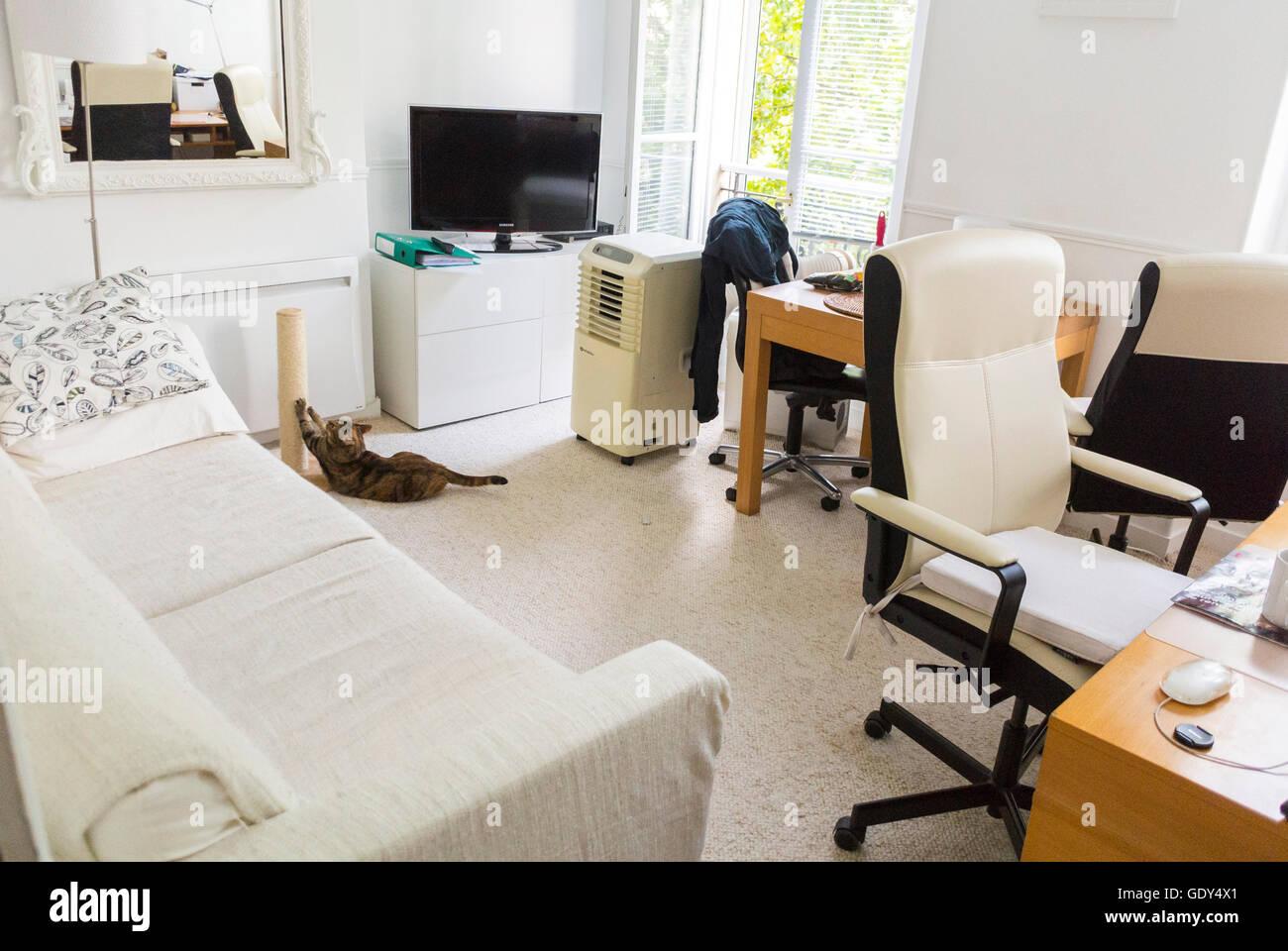 Paris, Frankreich, Modernen Städtischen Wohnung, Weiße Zeitgenössisches  Design Interiors, Ikea Möbel, Home Office, Couch Im Wohnzimmer